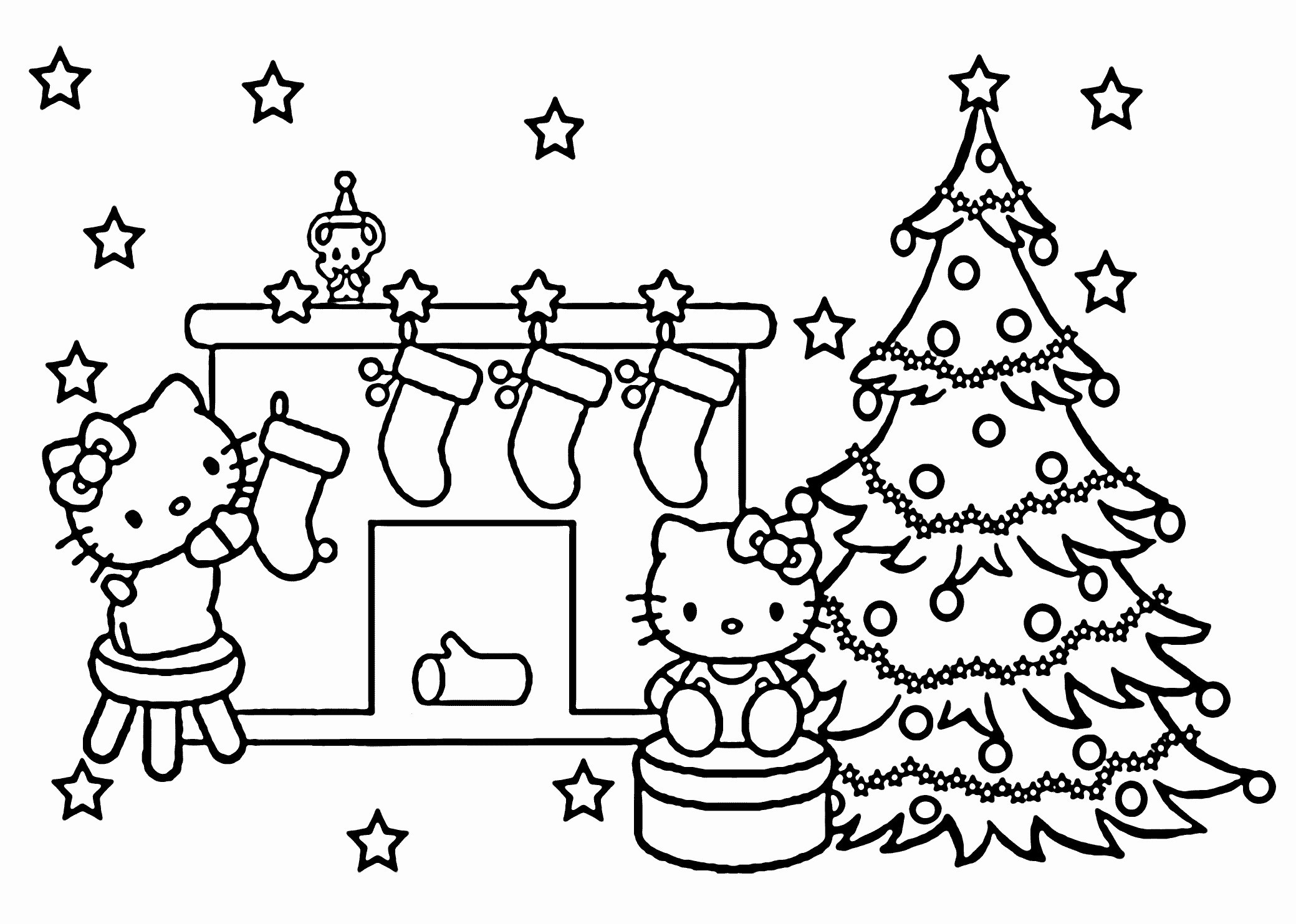 Christmas Coloring Pages Hello Kitty With Page Best Of