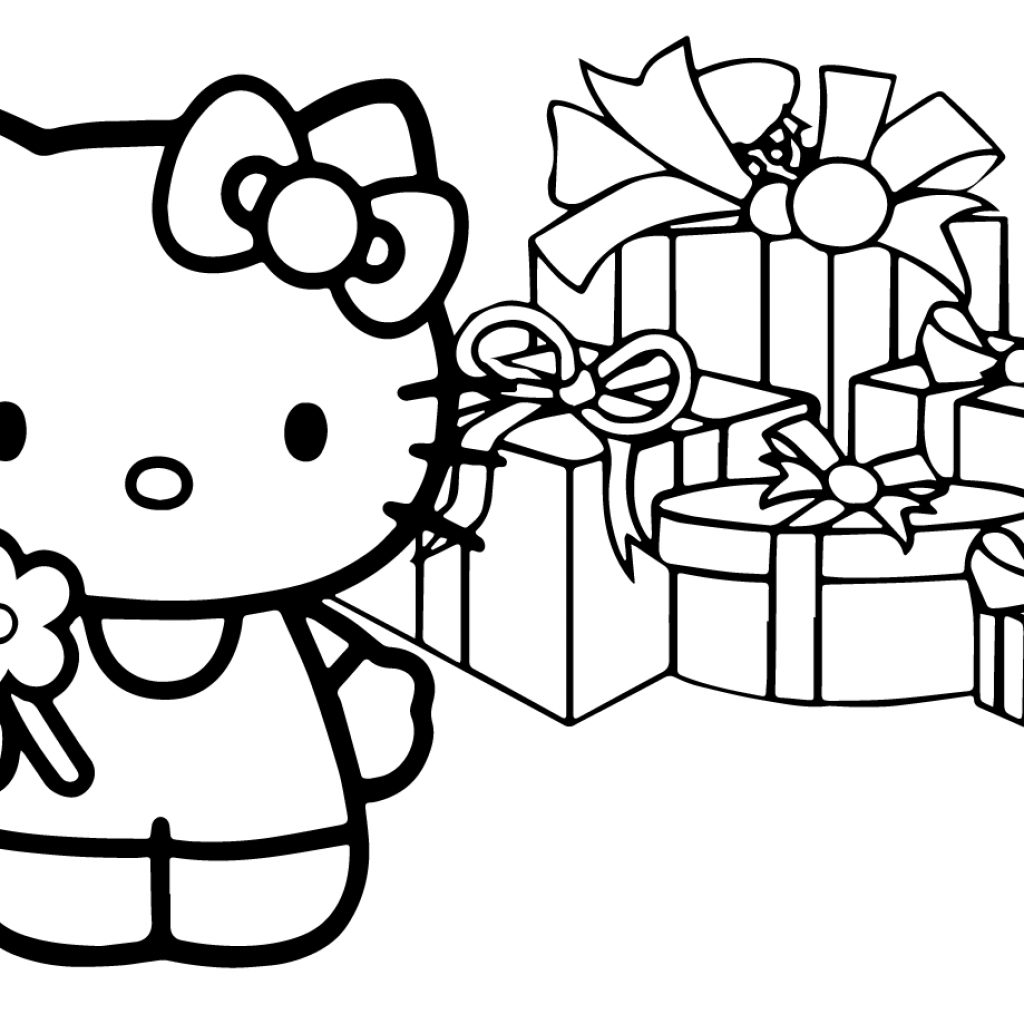 Christmas Coloring Pages Hello Kitty With Printable For A