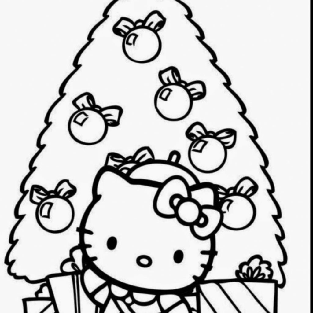 Christmas Coloring Pages Hello Kitty With Refrence