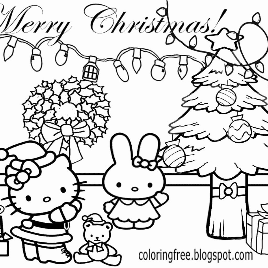 Christmas Coloring Pages Hello Kitty With Top Of Your Favorite