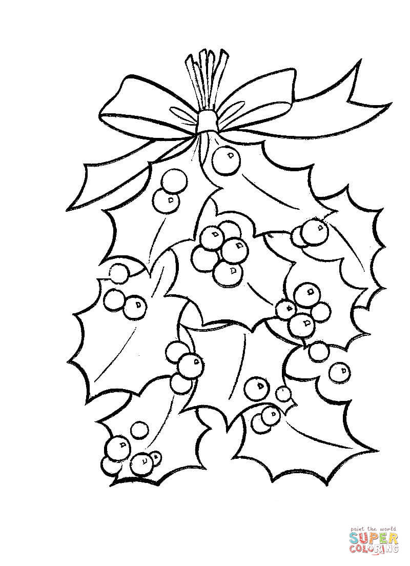 Christmas Coloring Pages Holly Leaves With Bright Red Berries Page Free Printable