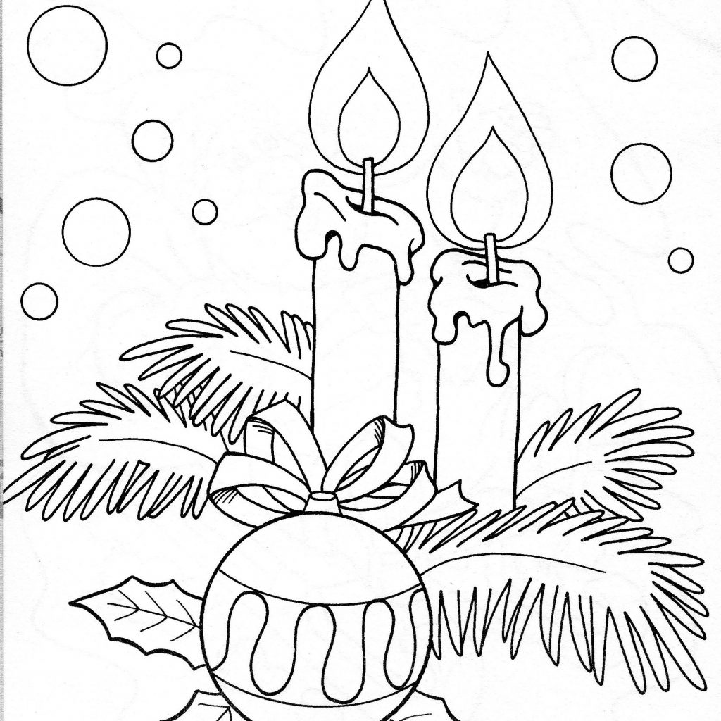 Christmas Coloring Pages Holly Leaves With Candles Snow Ornament NICE Ana