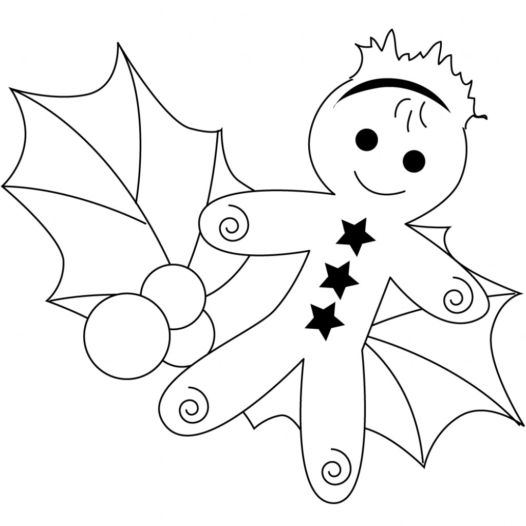 Christmas Coloring Pages Holly Leaves With Gingerbread And Leaf Page Free Printable