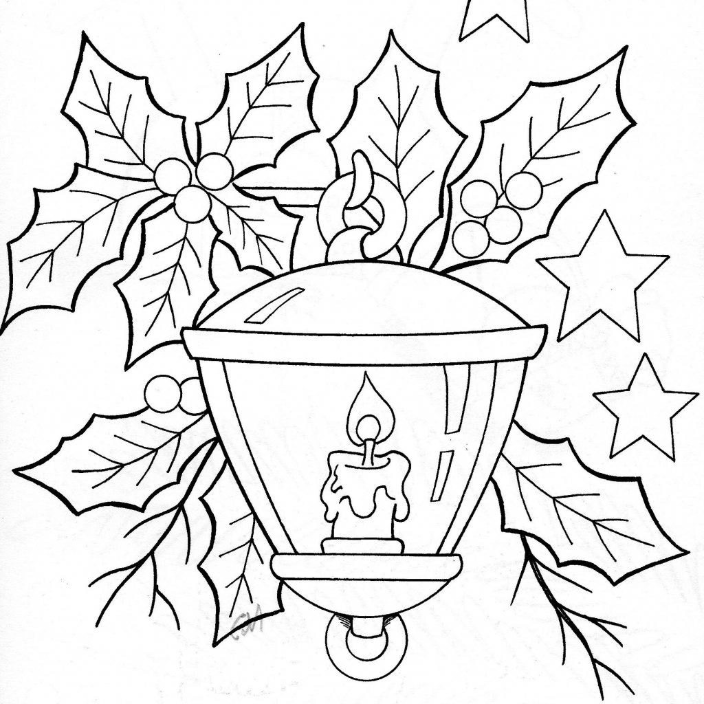 Christmas Coloring Pages Holly Leaves With Lantern And Pinterest Embroidery Copic