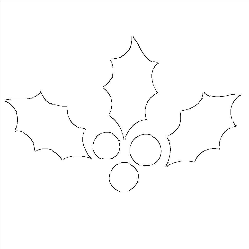 Christmas Coloring Pages Holly Leaves With Leaf Templates Free Printable Patterns To Cut Out Projects