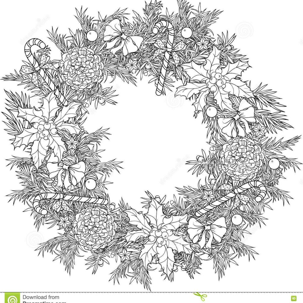 Christmas Coloring Pages Holly Leaves With Wreath Candies Cones And Stock