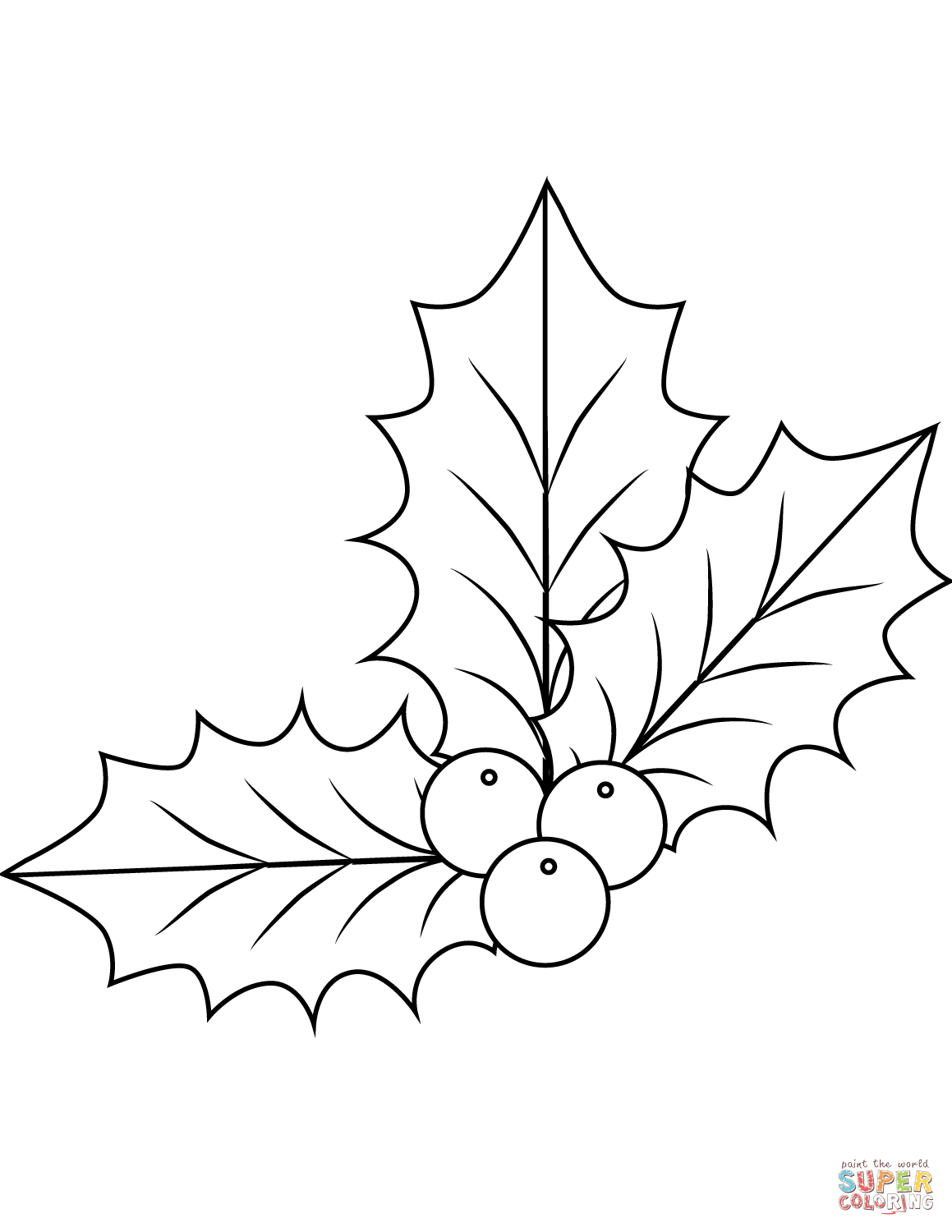 Christmas Coloring Pages Holly Leaves With Xmas Page Free Printable