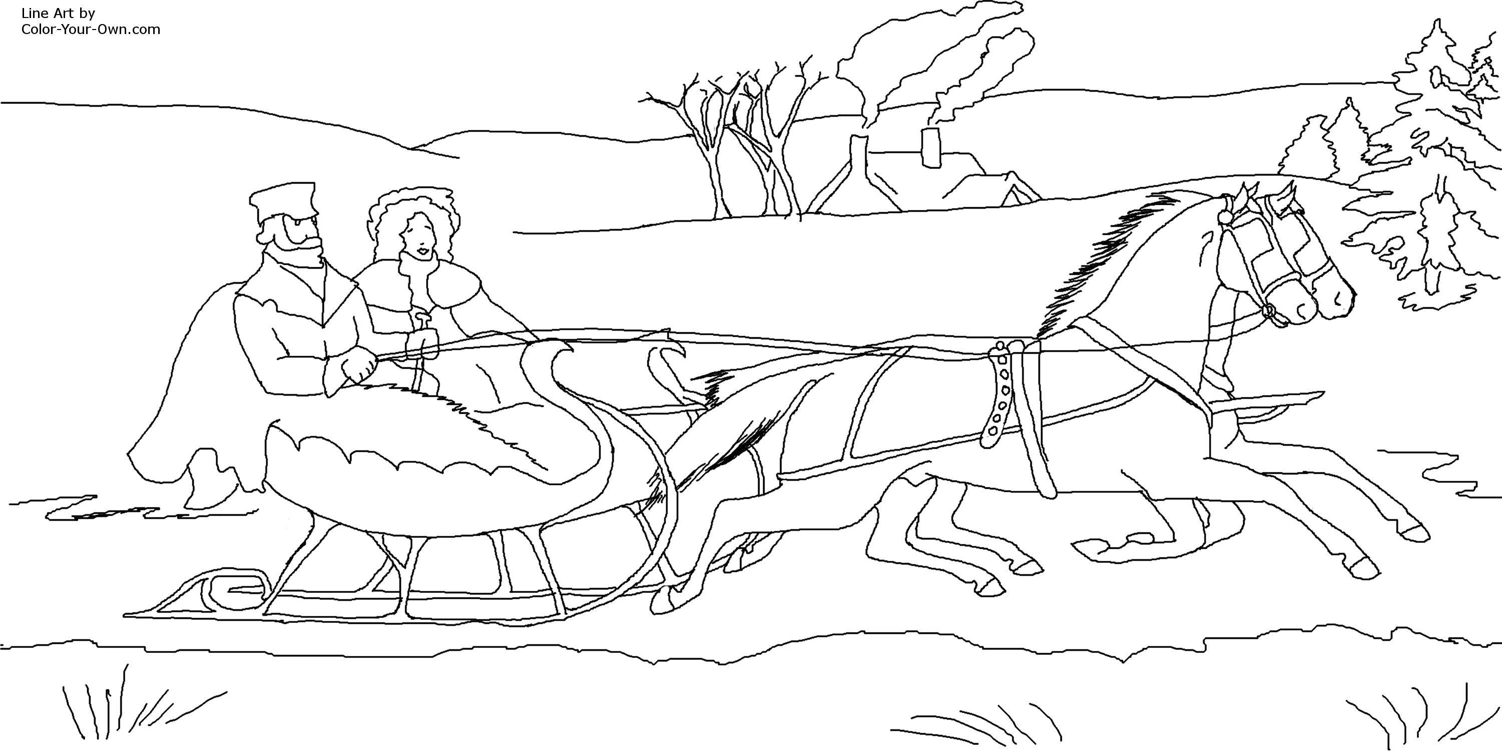 Christmas Coloring Pages Horse With And Sleigh Page
