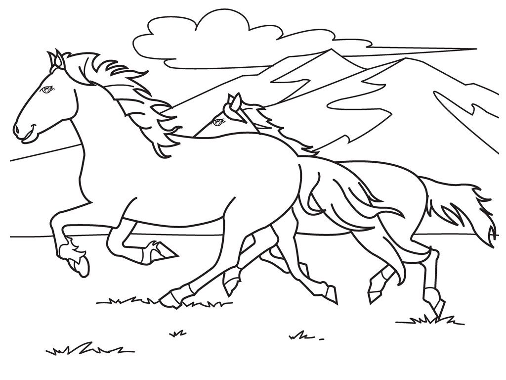 Christmas Coloring Pages Horse With Free Printable For Kids NEDDLE WORK Once