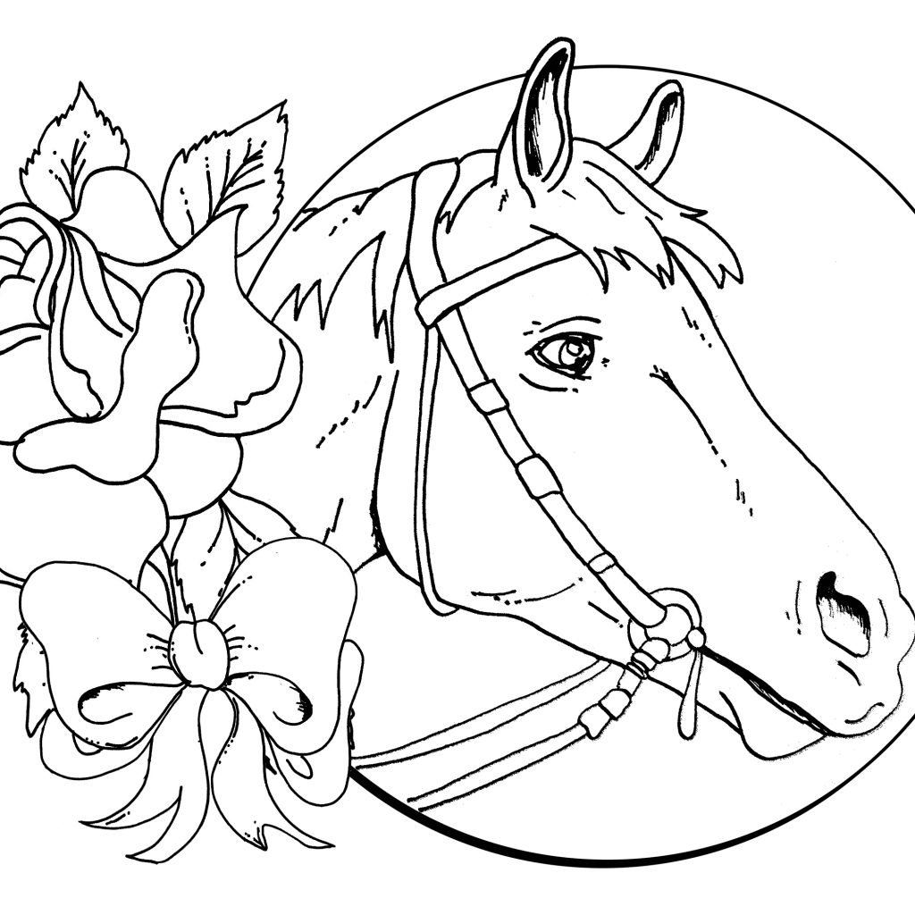 Christmas Coloring Pages Horse With Head Free Books