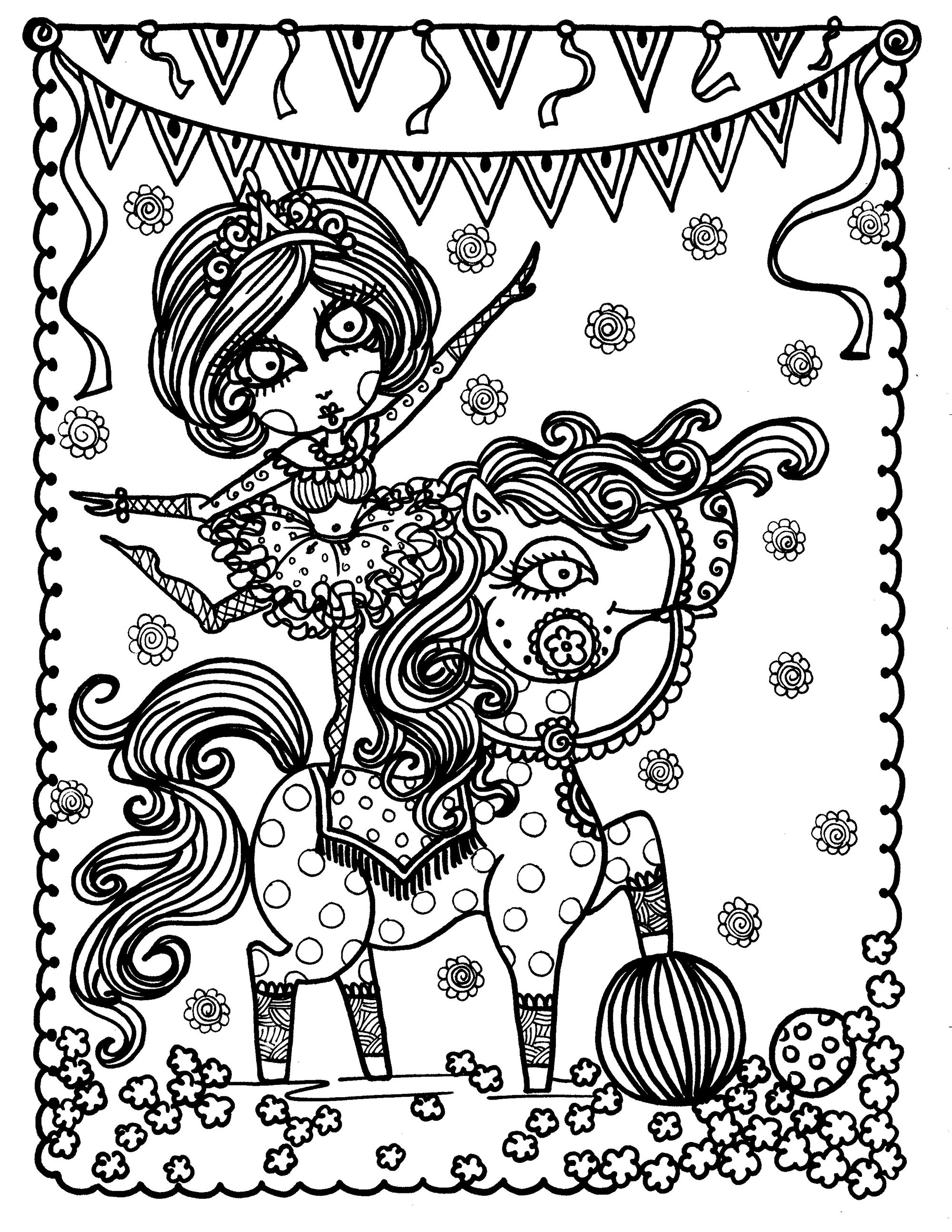 Christmas Coloring Pages Horse With New Acrobat Girl On Anti Stress Adult