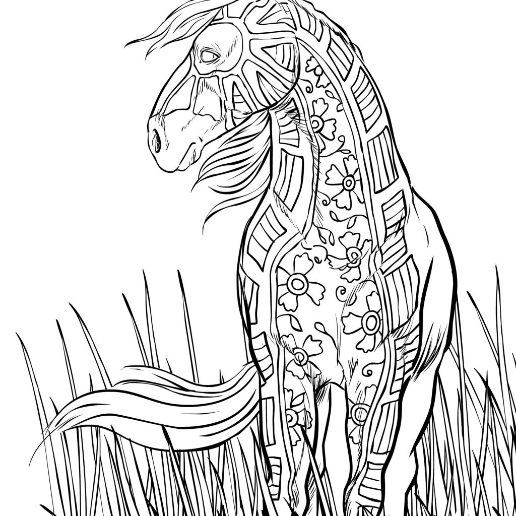 Christmas Coloring Pages Horse With Princess