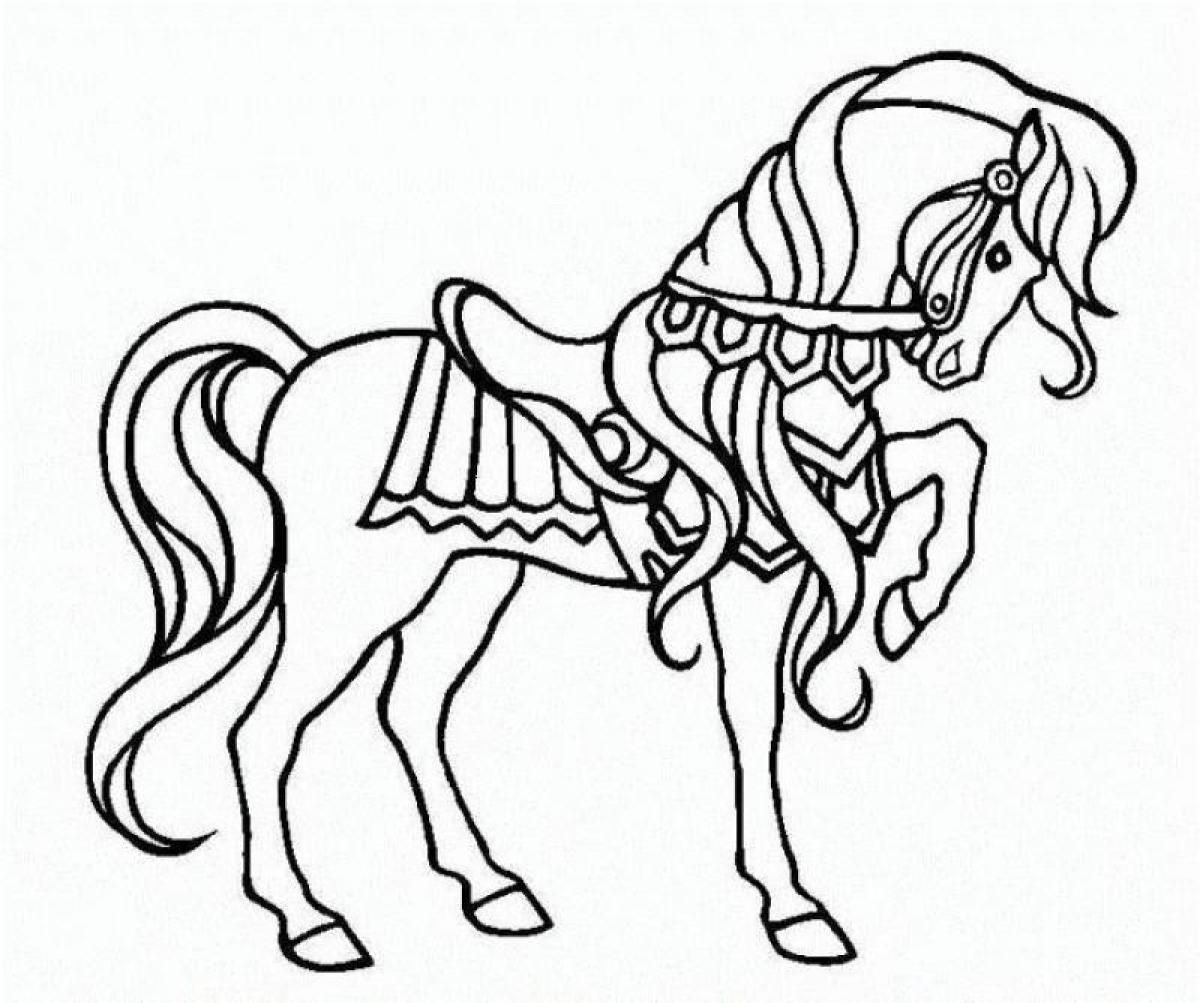 Christmas Coloring Pages Horse With War Animal