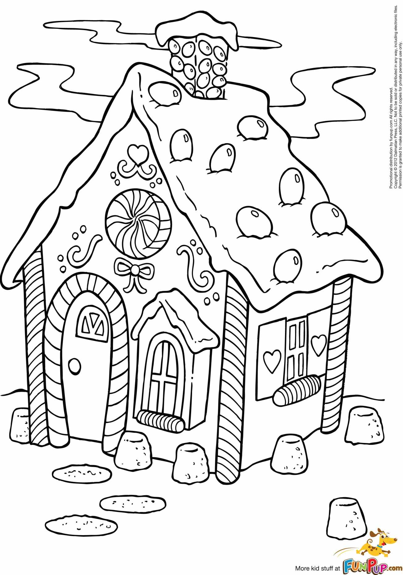 Christmas Coloring Pages House With Gingerbread For