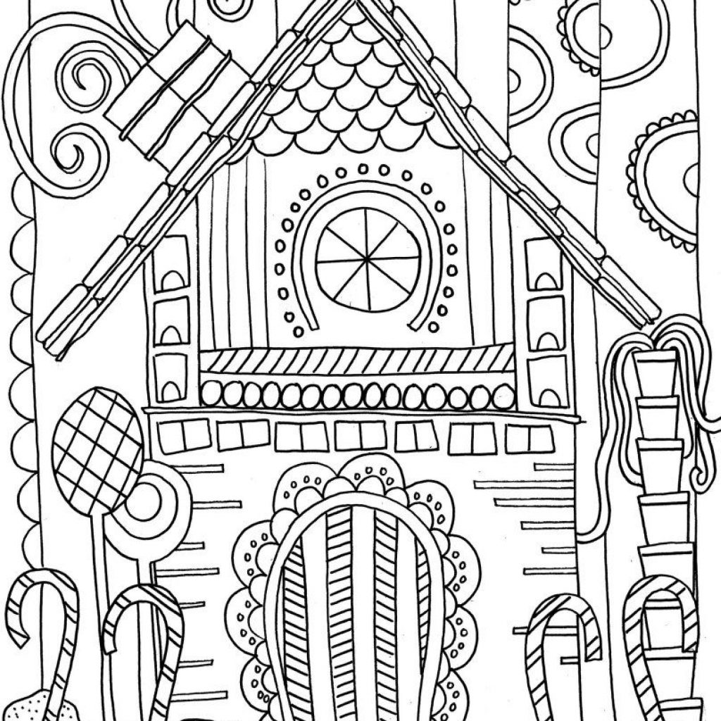 Christmas Coloring Pages House With Gingerbread Page Pinterest