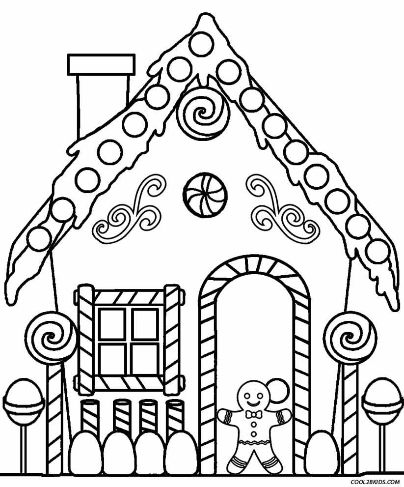 Christmas Coloring Pages House With Gingerbread Patterns Printables Templates