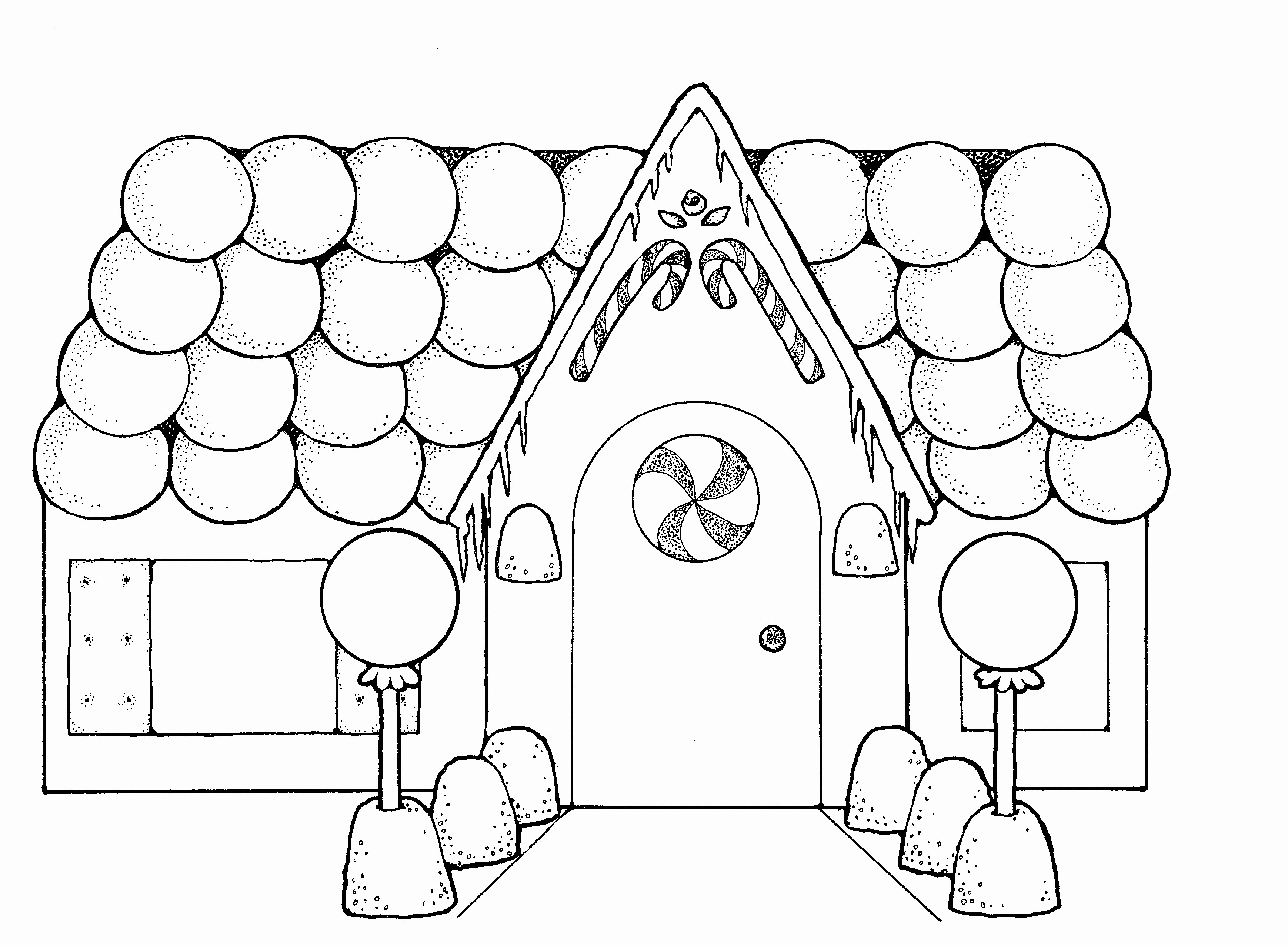 Christmas Coloring Pages House With Gingerbread