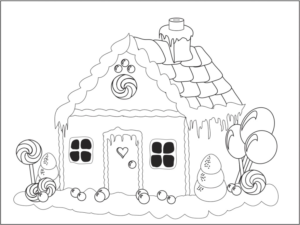 Christmas Coloring Pages House With Printable Gingerbread Thanhhoacar Com
