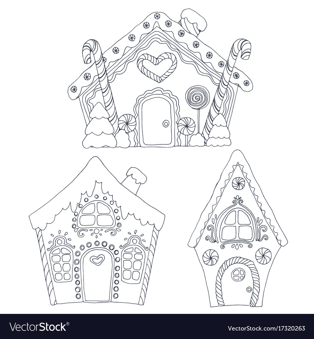 Christmas Coloring Pages House With Royalty Free Vector Image
