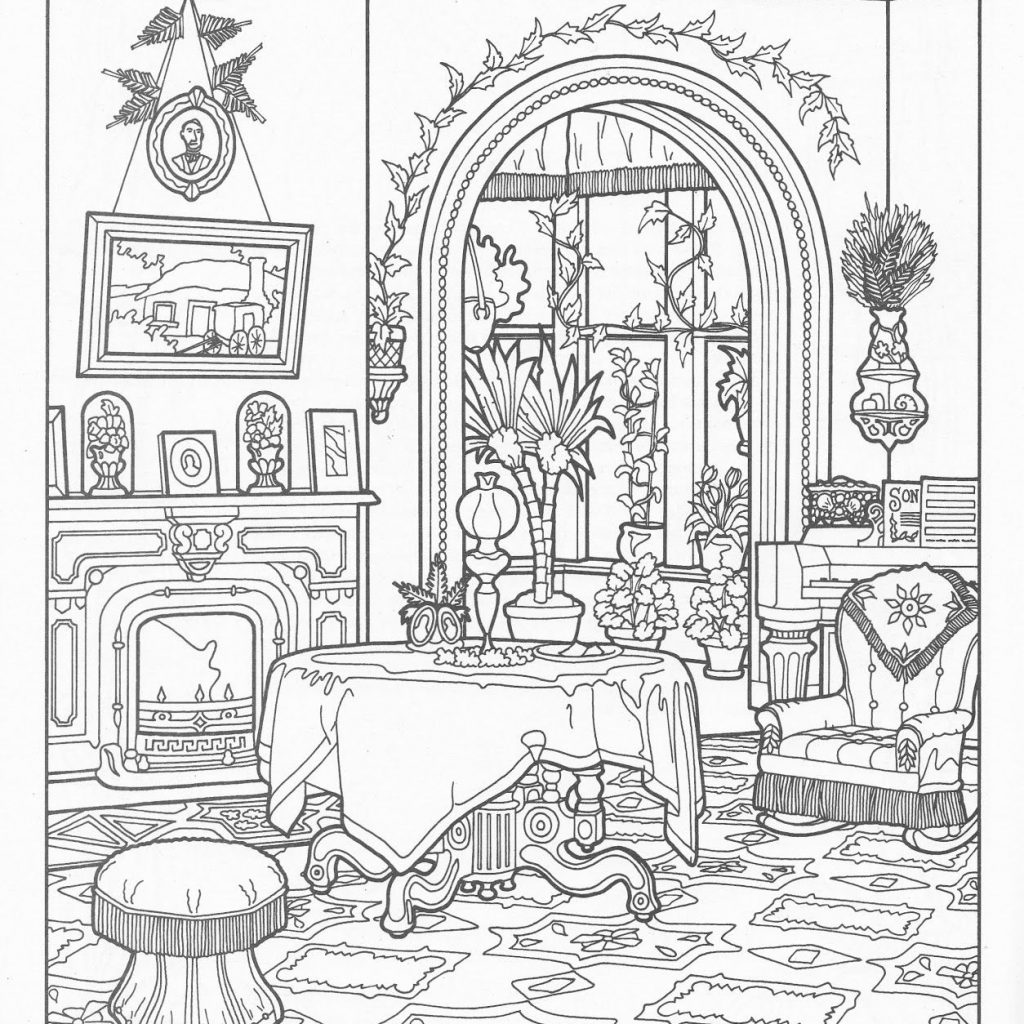 Christmas Coloring Pages House With Vintage Book Illustrations Helena Christine If You Re