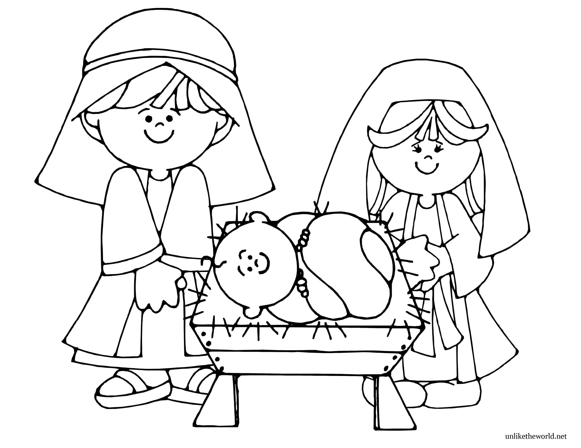 Christmas Coloring Pages Jesus Manger With Baby Clever Design Printable Nativity