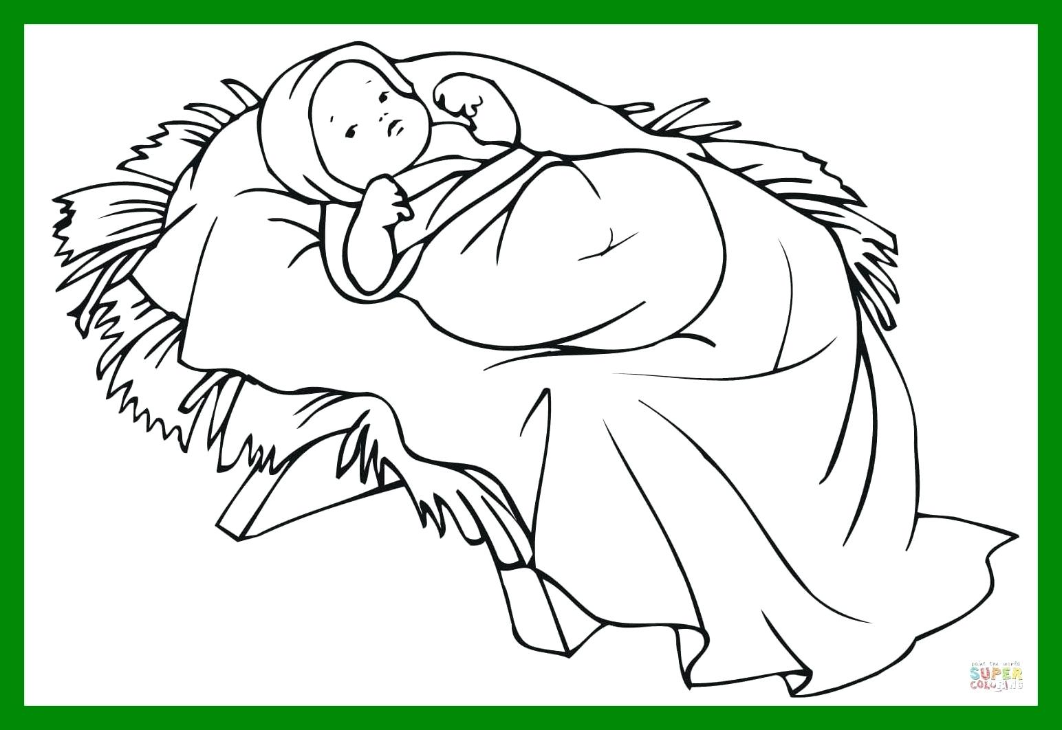 Christmas Coloring Pages Jesus Manger With Collection Of Baby In A Download Them