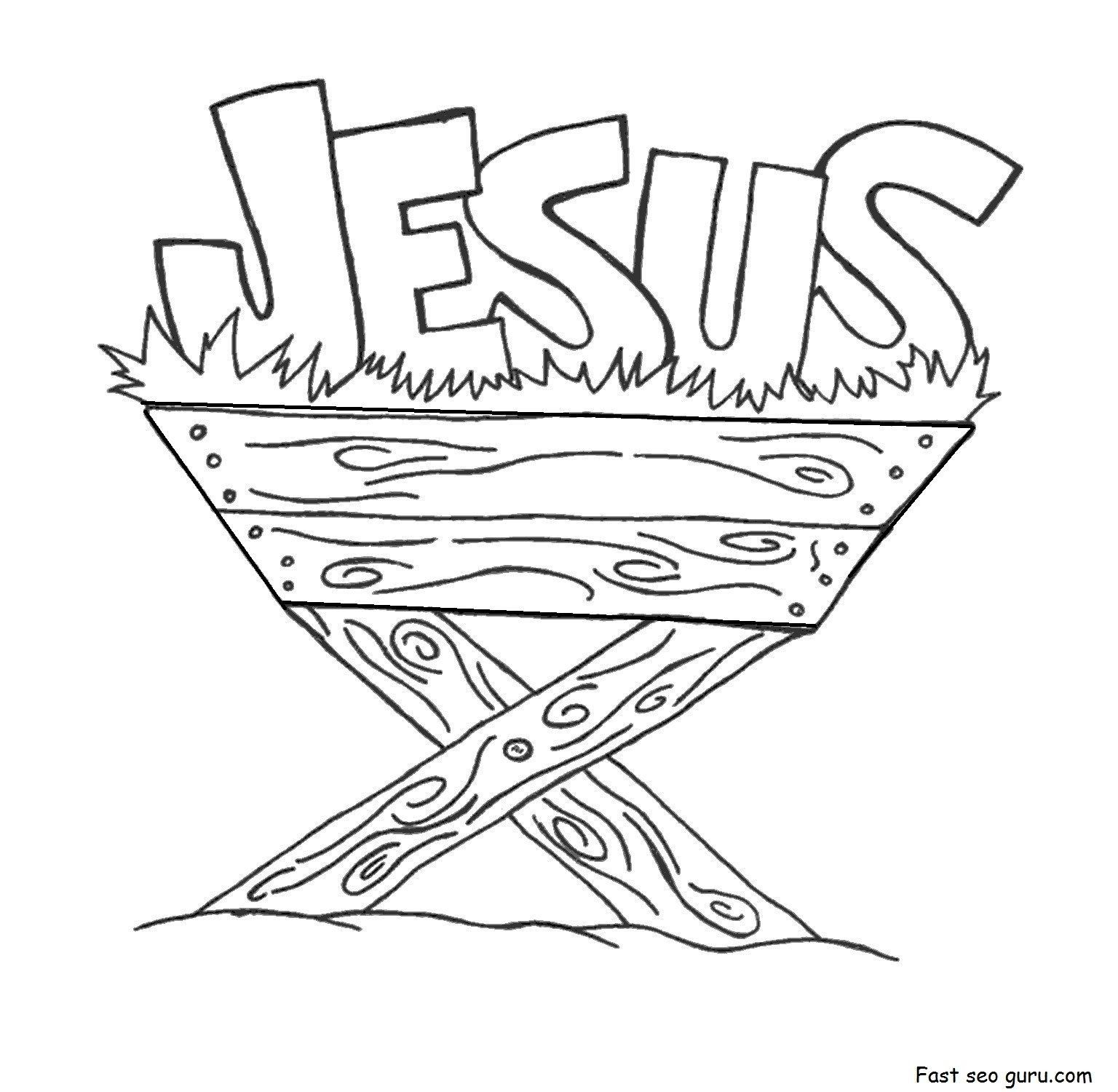 Christmas Coloring Pages Jesus Manger With Free Printable Save For