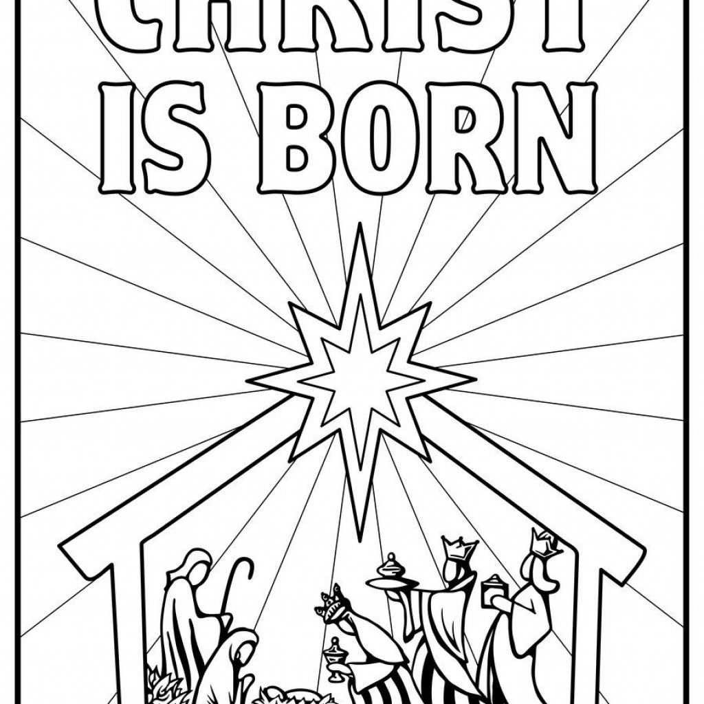 Christmas Coloring Pages Jesus Manger With Kids Color Scene Nativity Story