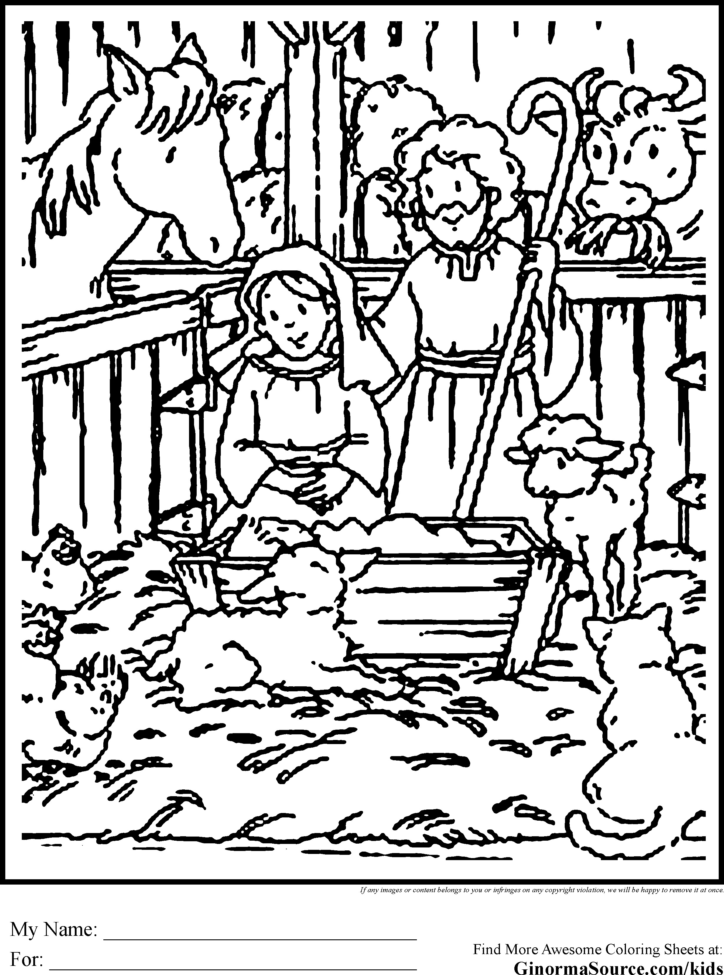 Christmas Coloring Pages Jesus Manger With Nativity Stable Page Fiscalreform