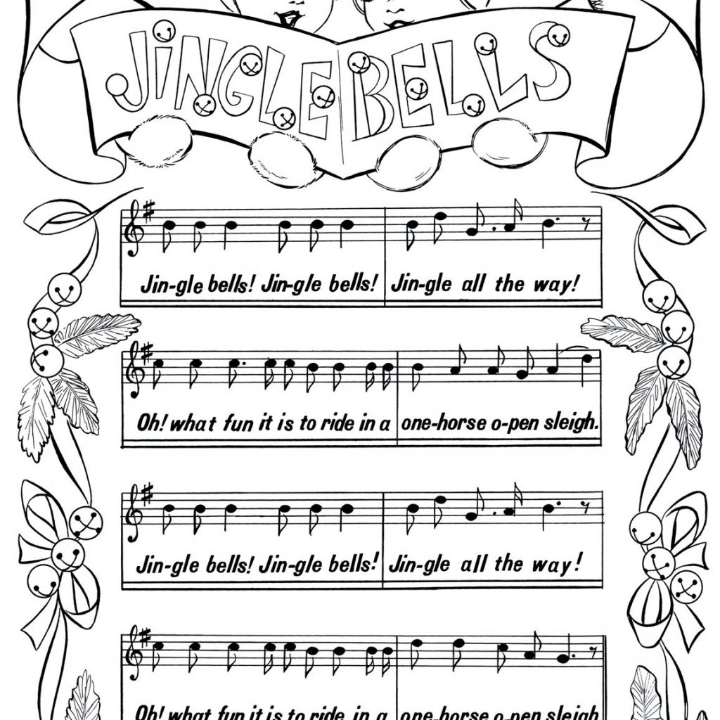 Christmas Coloring Pages Jingle Bells With Printable Page Printables