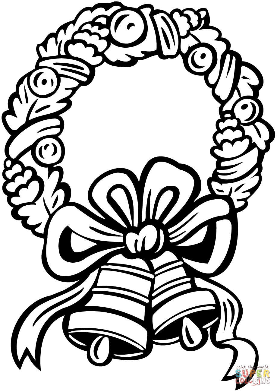 Christmas Coloring Pages Jingle Bells With Wreath Page Thanhhoacar Com