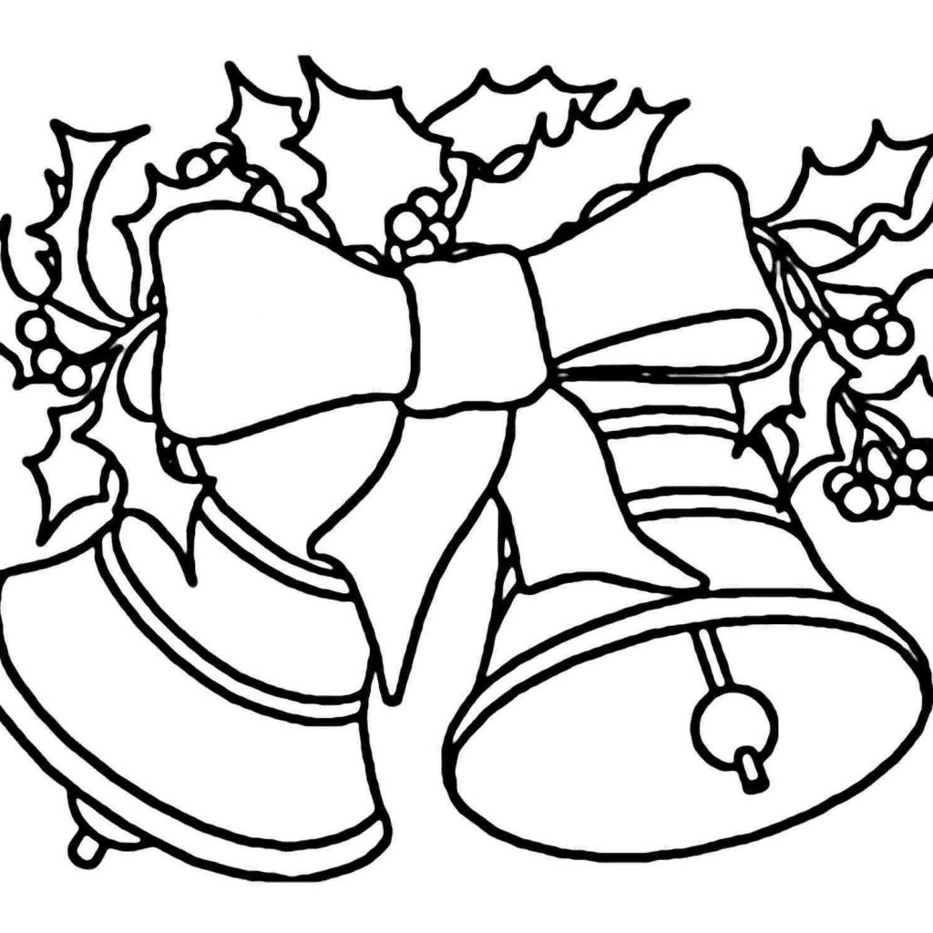Christmas Coloring Pages Jingle Bells With Xmas Bell Printable Page For Kids
