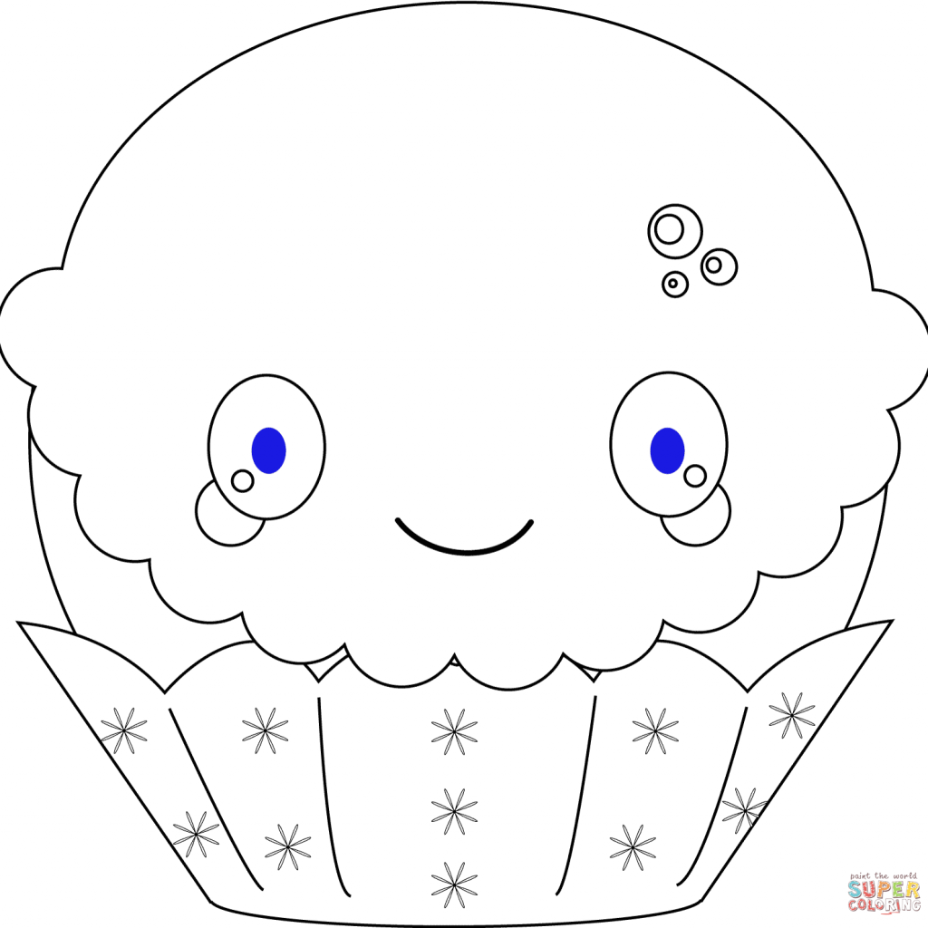 Christmas Coloring Pages Kawaii With Cupcake Page Free Printable