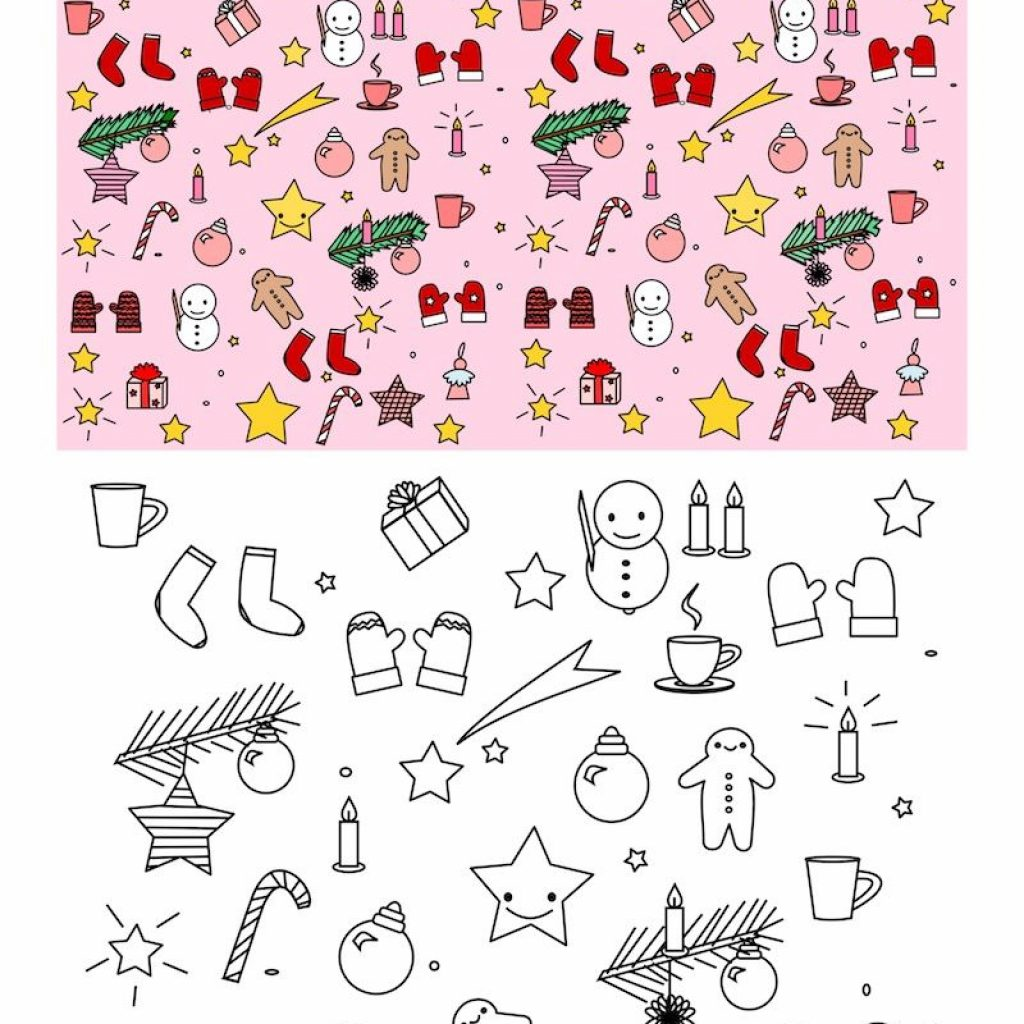Christmas Coloring Pages Kawaii With FREE Printable Page Colored Paper
