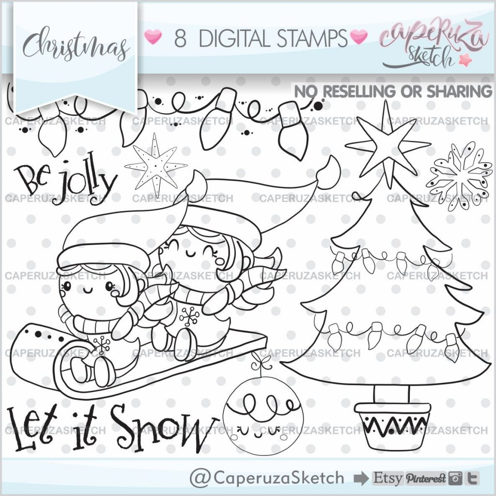 Christmas Coloring Pages Kawaii With Stamps Page Etsy