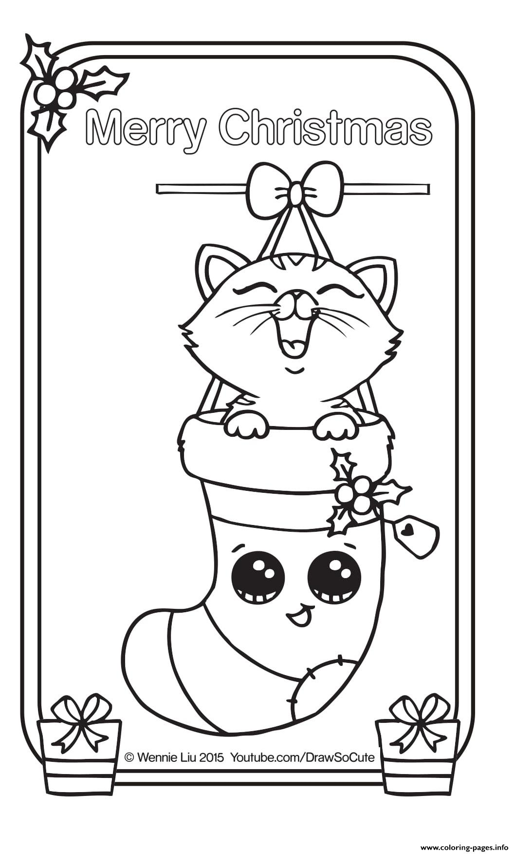 Christmas Coloring Pages Kitten With Card Draw So Cute Printable