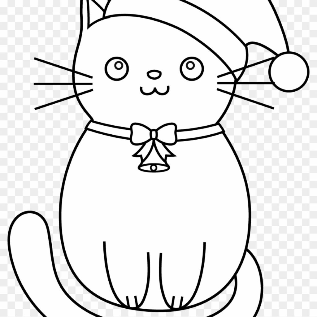 Christmas Coloring Pages Kitten With Cat Clipart Line Art Kittens Free