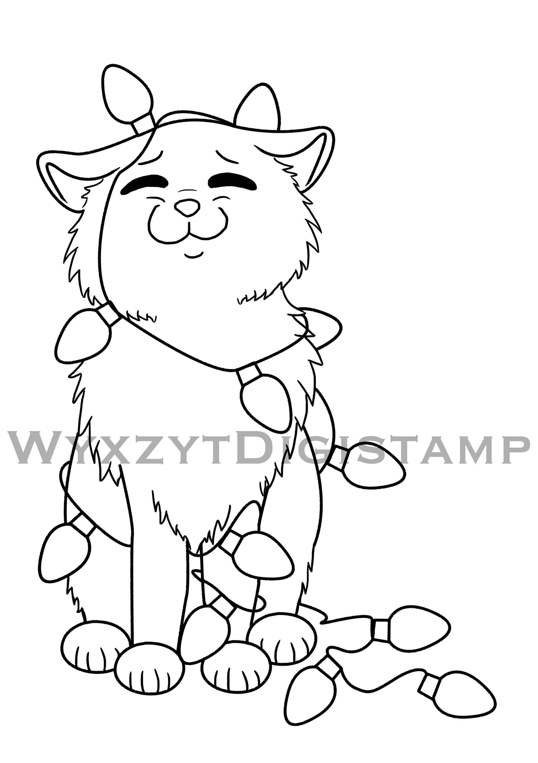 Christmas Coloring Pages Kitten With Cute Tangled In Lights Digistamp Instant Download