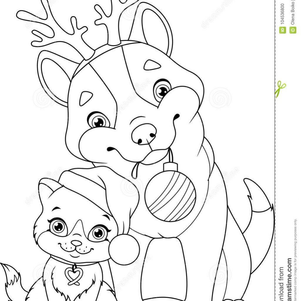 Christmas Coloring Pages Kitten With Dog Cat Page Stock Vector Illustration Of