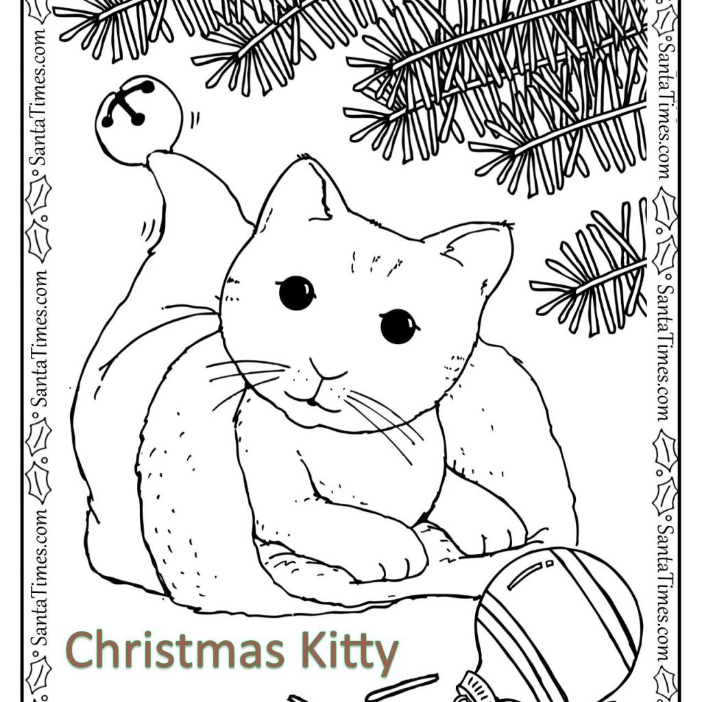 Christmas Coloring Pages Kitten With Kitty Page Color This Happy Little