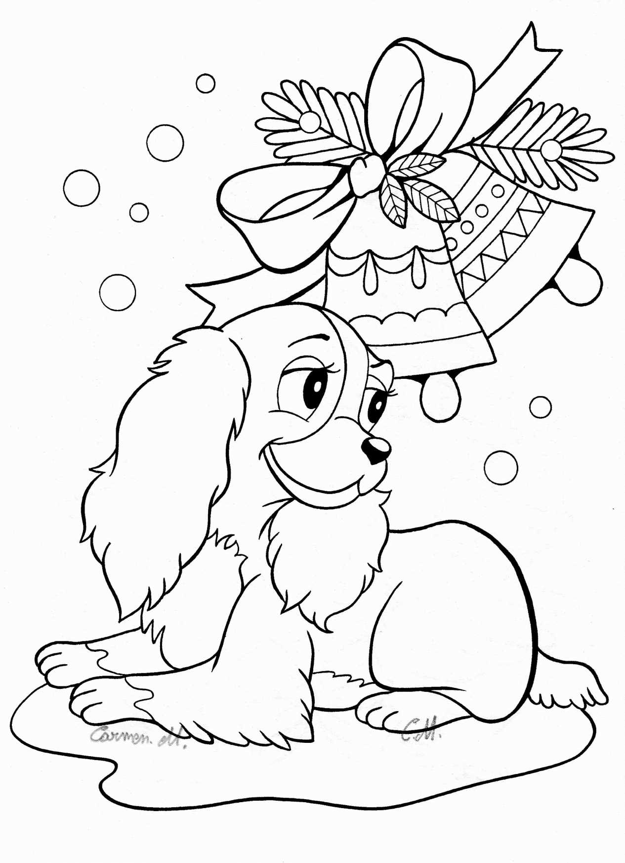 Christmas Coloring Pages Kitten With Puppies And Kittens