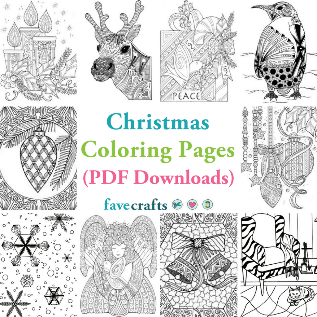 Christmas Coloring Pages Large With 18 PDF Downloads FaveCrafts Com