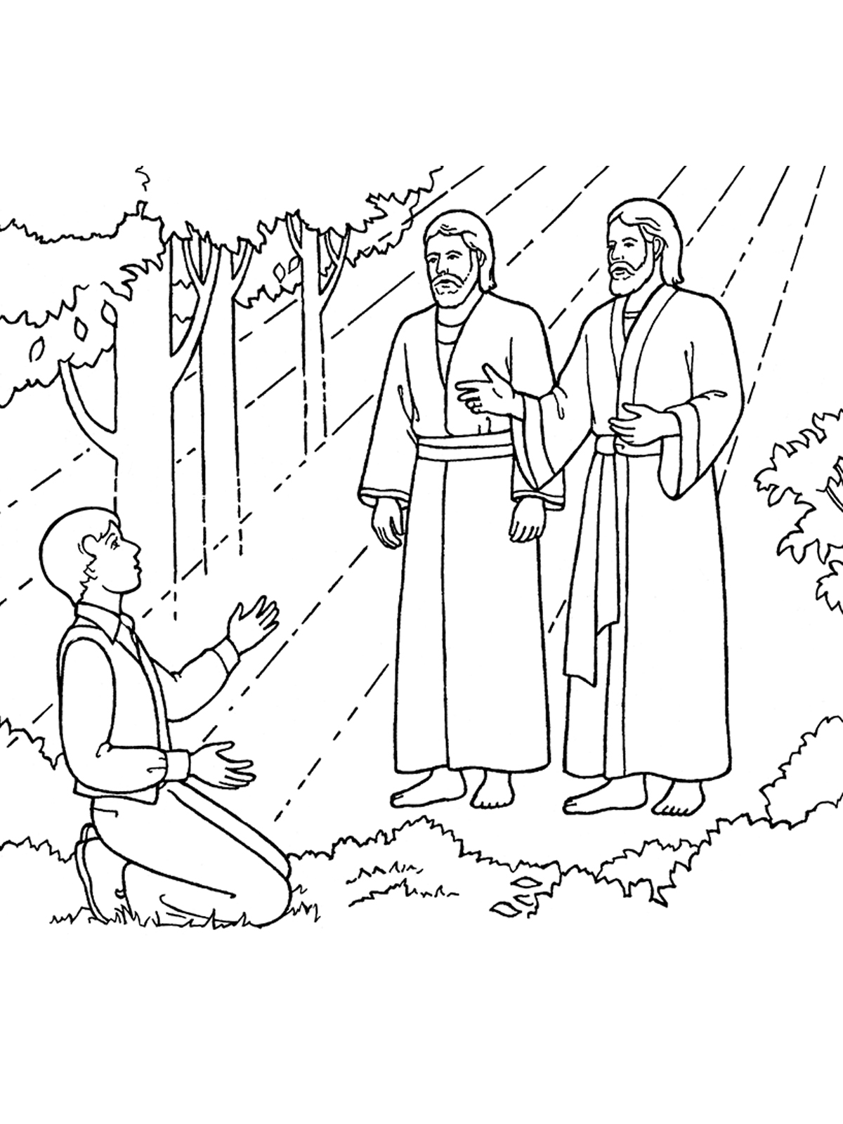 Christmas Coloring Pages Lds With The First Vision Joseph Sees God Father And Jesus Christ