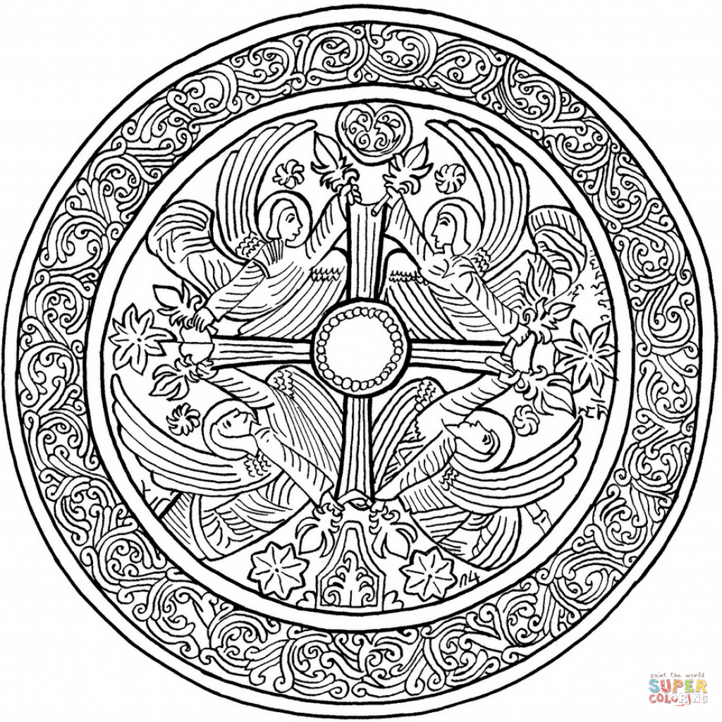 Christmas Coloring Pages Mandala With Angels Page Free Printable