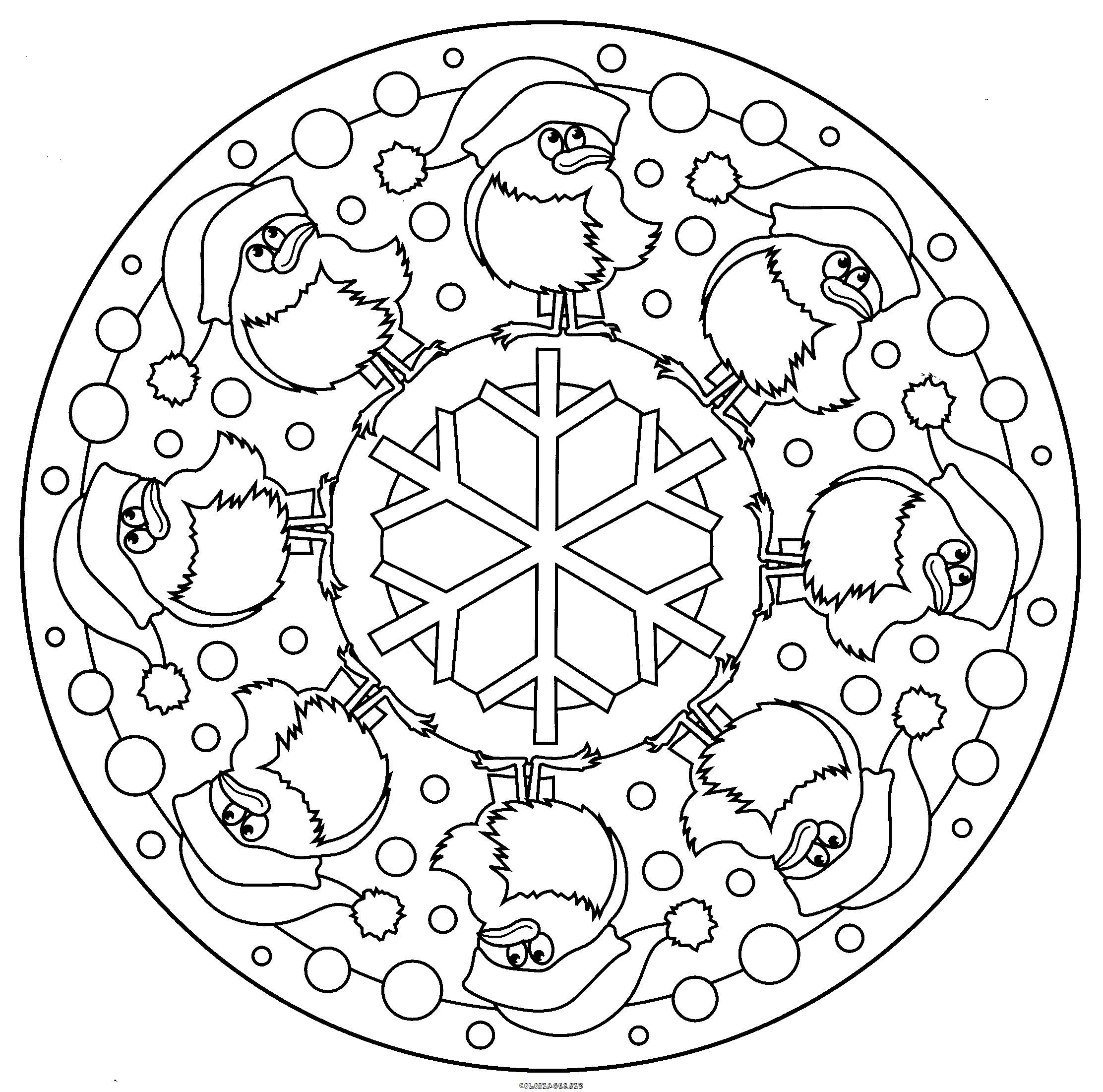 Christmas Coloring Pages Mandala With Coloriage Oiseau De Noel Mandalas Pinterest