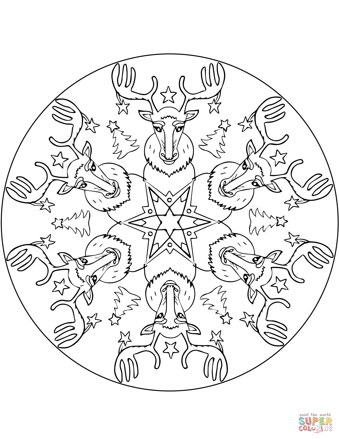 Christmas Coloring Pages Mandala With Mandalas Free