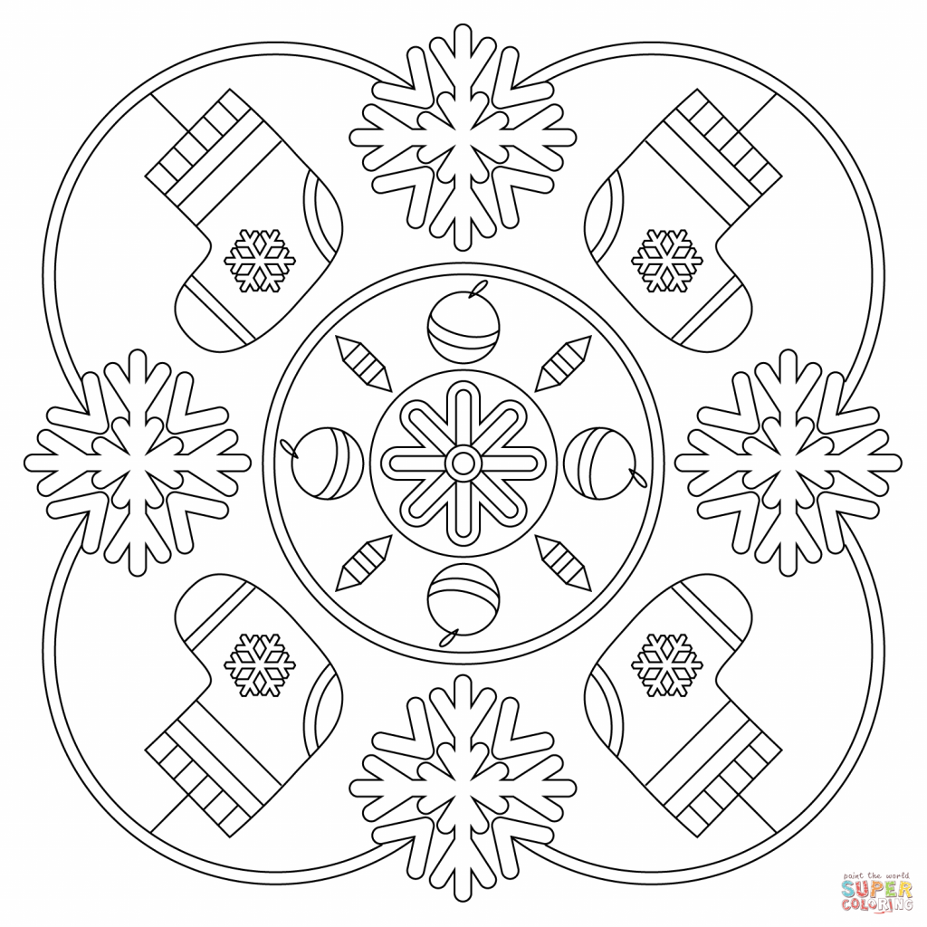 Christmas Coloring Pages Mandala With Winter Page Free Printable