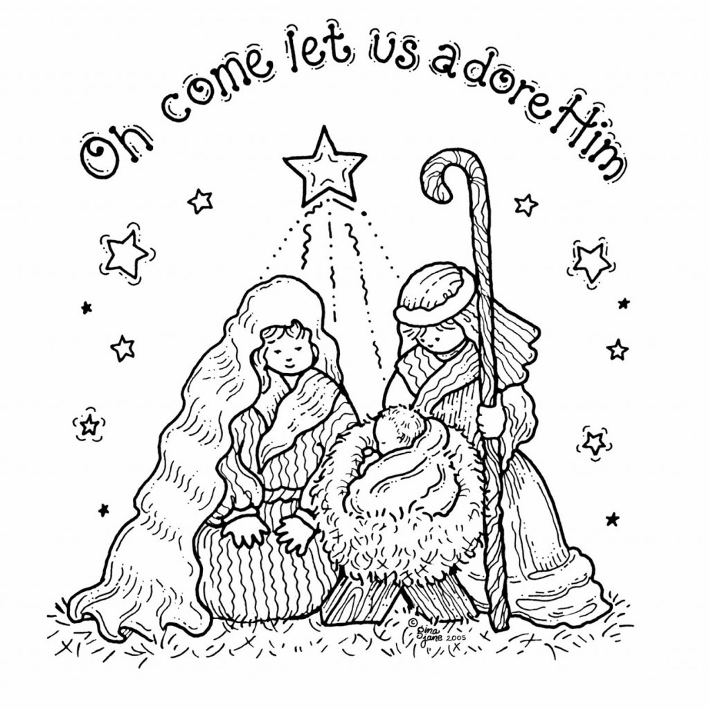 Christmas Coloring Pages Manger With Free Printable Nativity For Kids Best