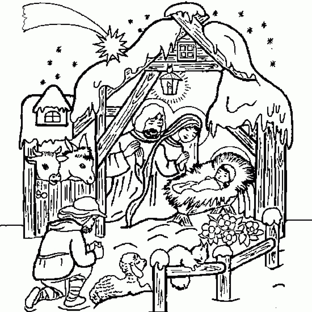 Christmas Coloring Pages Manger With Fresh Nativity Design Free