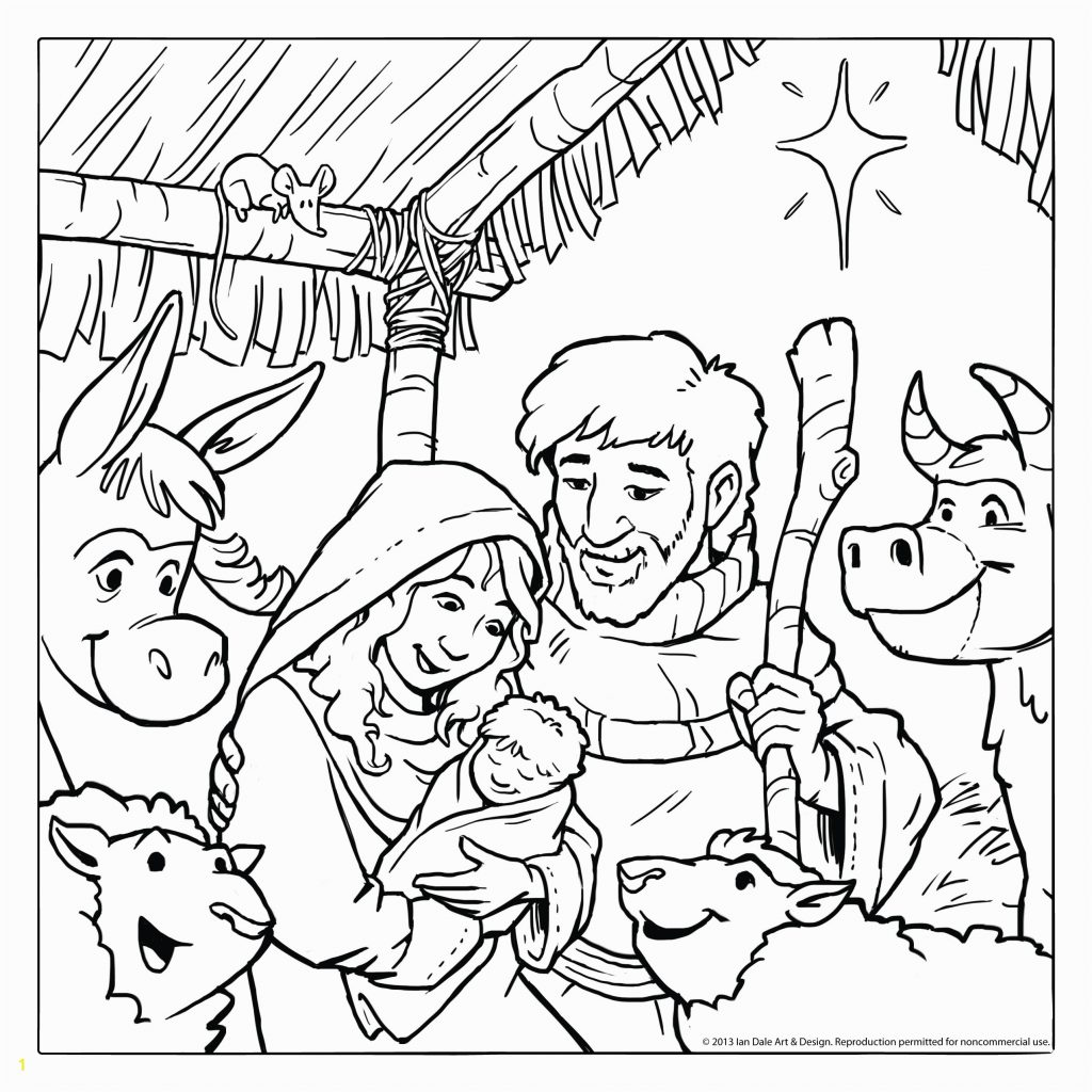 Christmas Coloring Pages Manger With Jesus Printable Page For Kids
